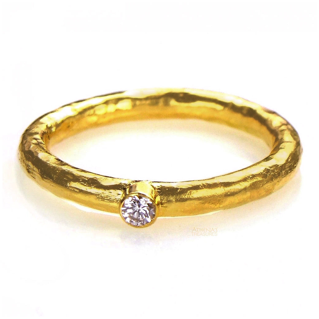Hammered 24k Gold Diamond Single Band Ring