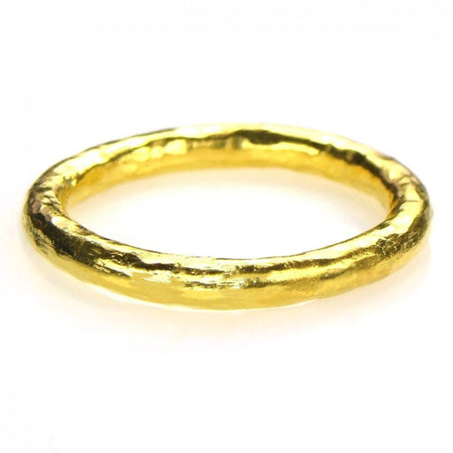 Hammered 24k Gold Single Band Ring
