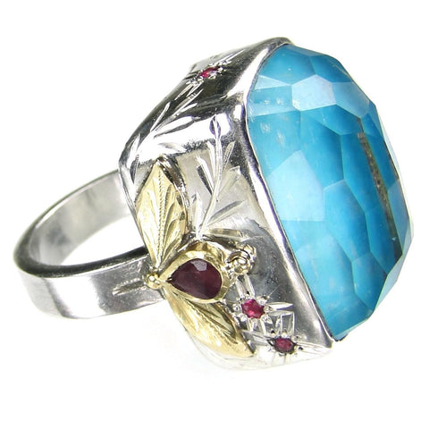 Big and Juicy Turquoise Doublet Ring
