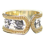 Gold Border Hammered Band Ring - Medium Back View