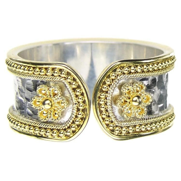 Gold Border Hammered Flower Band Ring - Medium