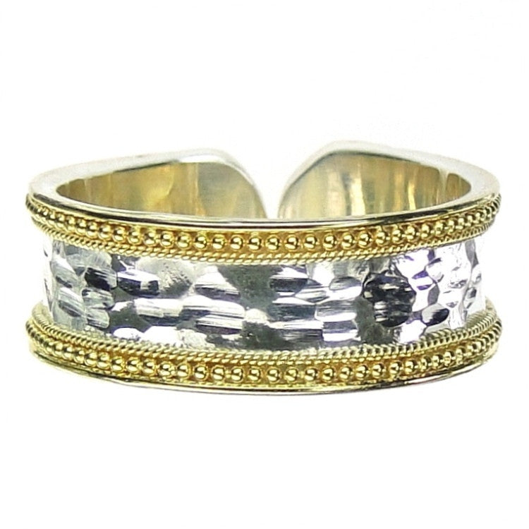 Gold Border Hammered Band Ring - Thin