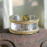 Gold Border Hammered Band Ring - Medium