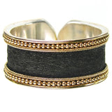 Gold Border Hammered Band Ring - Medium Black