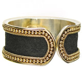 Gold Border Hammered Band Ring - Medium Black view from the back