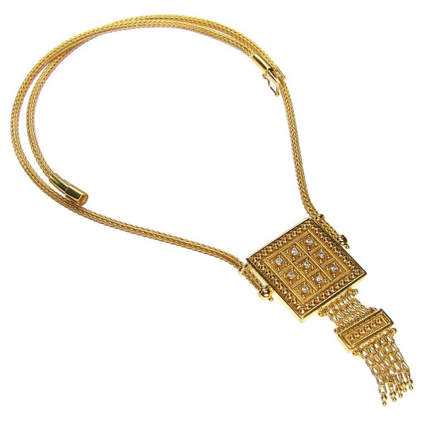 18k Gold Diamond Block Necklace