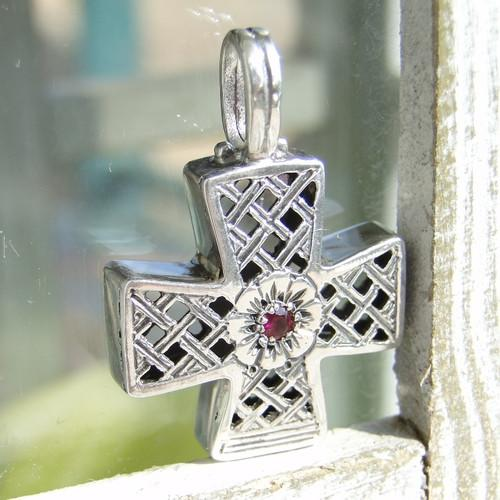 Greek Trellis Cross with Ruby