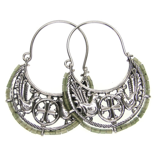 Evangelatos Byzantine Cross Beaded Hoop Earrings