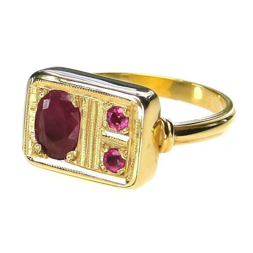 Evangelatos Ruby Mixed Stone Panel Ring Side View