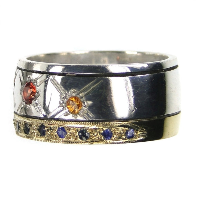 Evangelatos 18K Gold Star Spangled Band Ring Side View