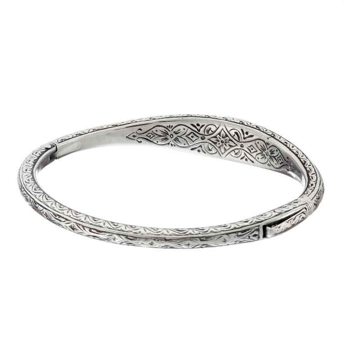 Garden Shadows Silver Thin Ruby Bangle Bracelet