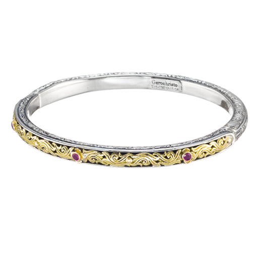 Floral Scroll Thin Bangle Bracelet With Stones