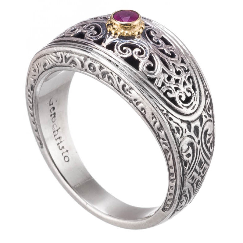 Garden Shadows Elliptical Face Silver and Ruby Band Ring