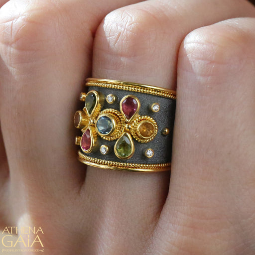 Color Explosion Black Gold Ring