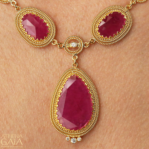 Rose Cut Ruby Necklace with Diamonds