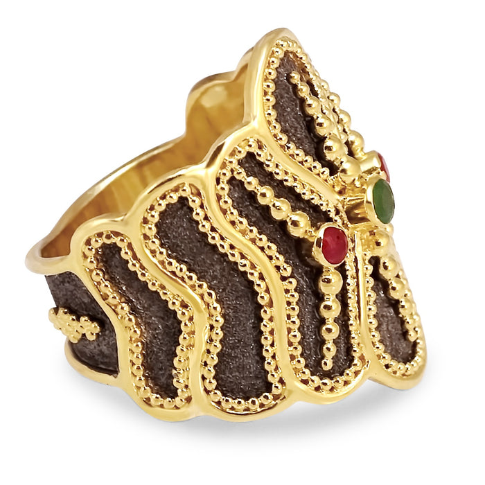 Triple Stone Butterfly Ring