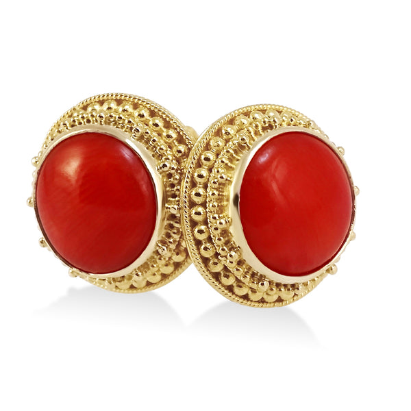 Coral Billias Border Post Earrings