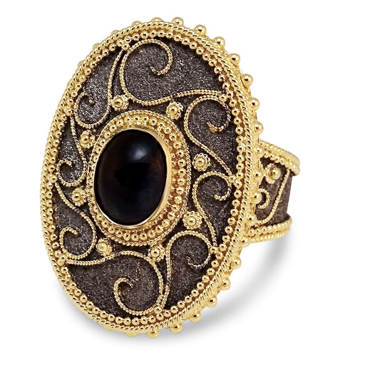 Oraya Black Argonaut Border Gold Ring
