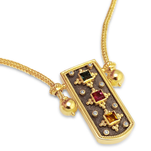 Byzantine Square Stone Necklace