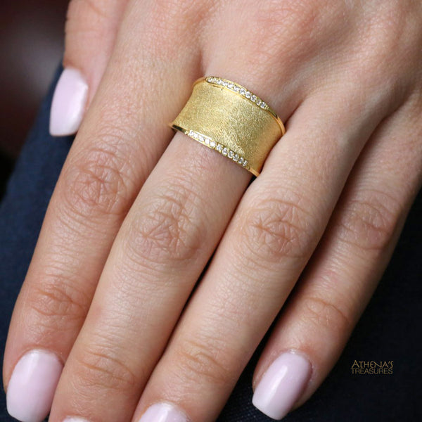 Diamond Edged Martile Sand Band Ring