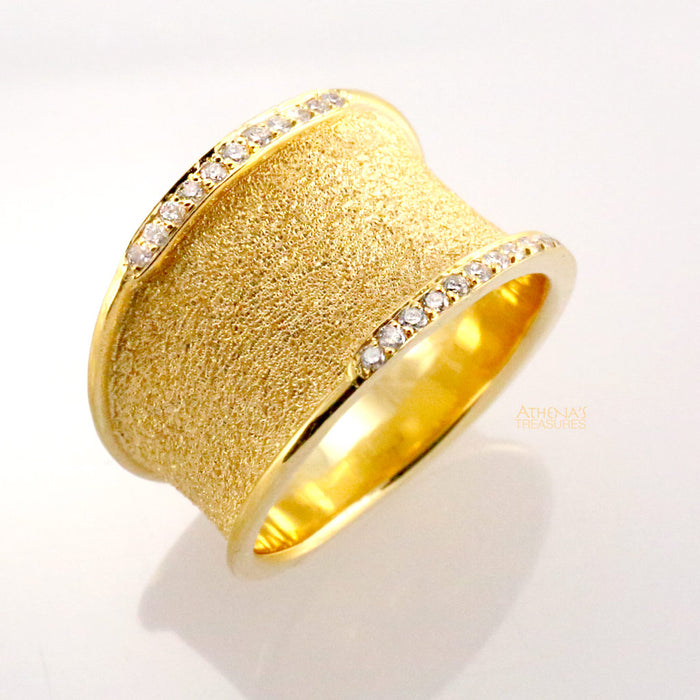 Diamond Edged Sand Band Ring