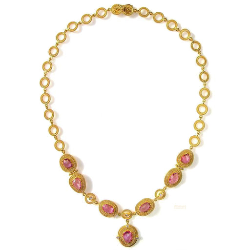Diamonds and Pink Sapphire Necklace