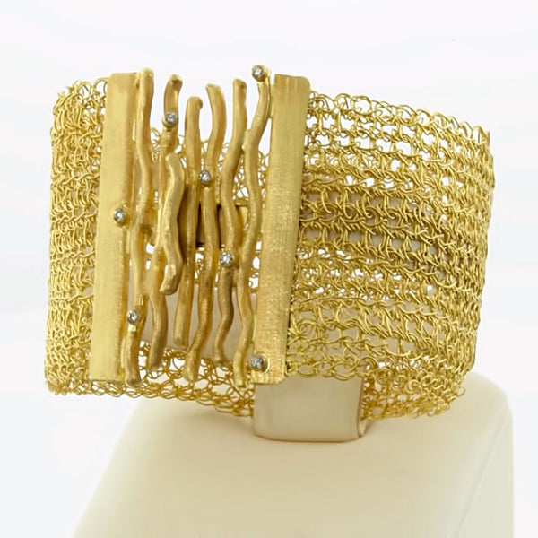 Diamonds and Woods Woven Bracelet