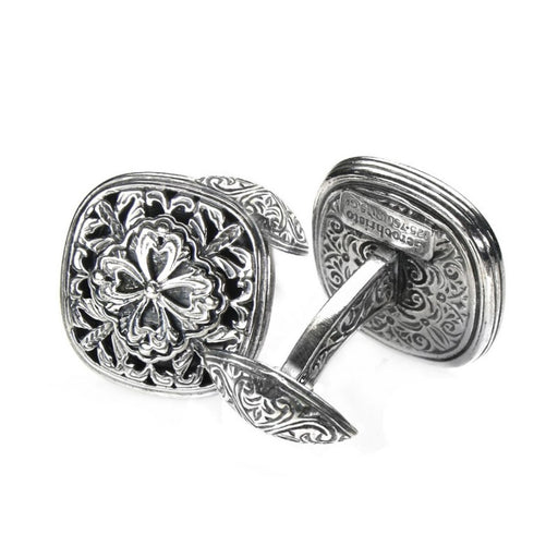 Garden Shadows Medieval Filigree Sterling Silver Cufflinks