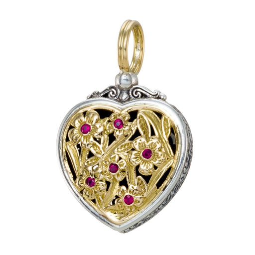 Garden Shadows Ruby Heart Pendant