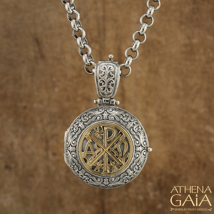 Chi Rho Cross Locket