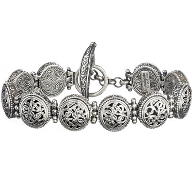 Sterling Silver Garden Shadows Small Circle Link Bracelet