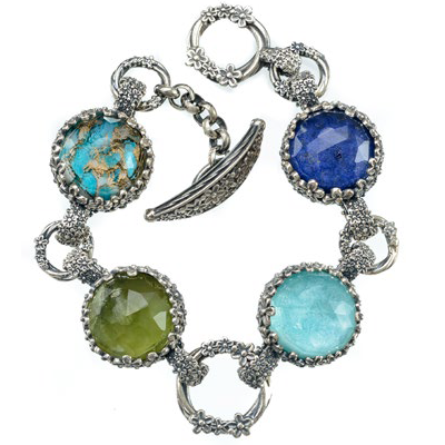 Pop Rocks Silver Flower Bezel Station Bracelet