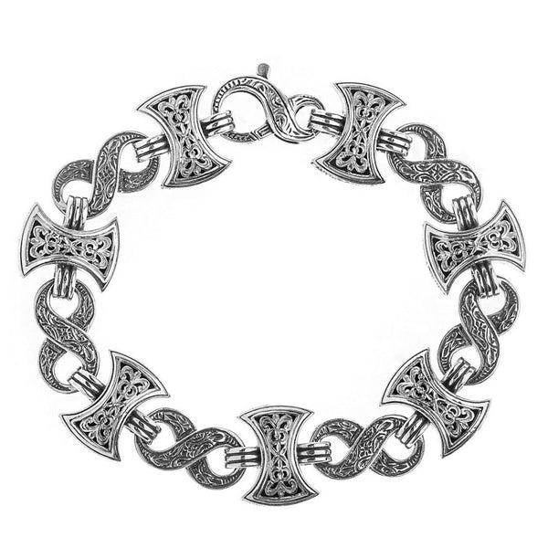 Infinity Axeheads Silver Link Bracelet