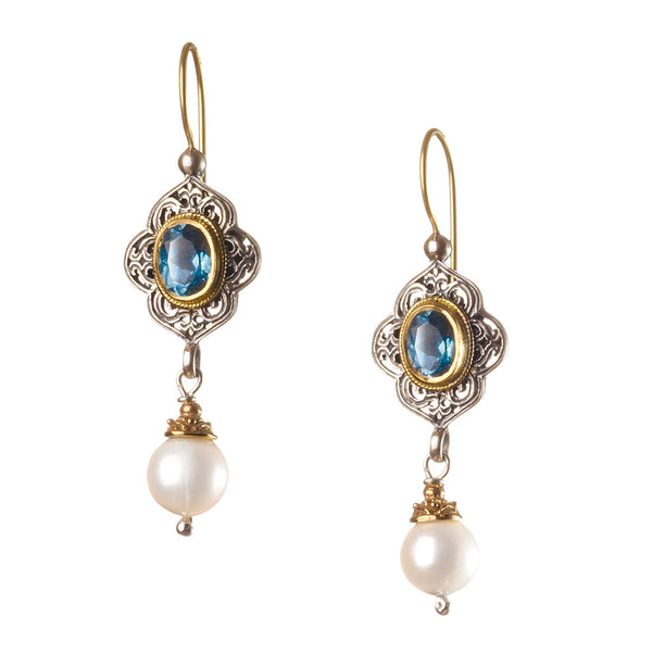 Topaz Pearl Drop Chandelier Earrings
