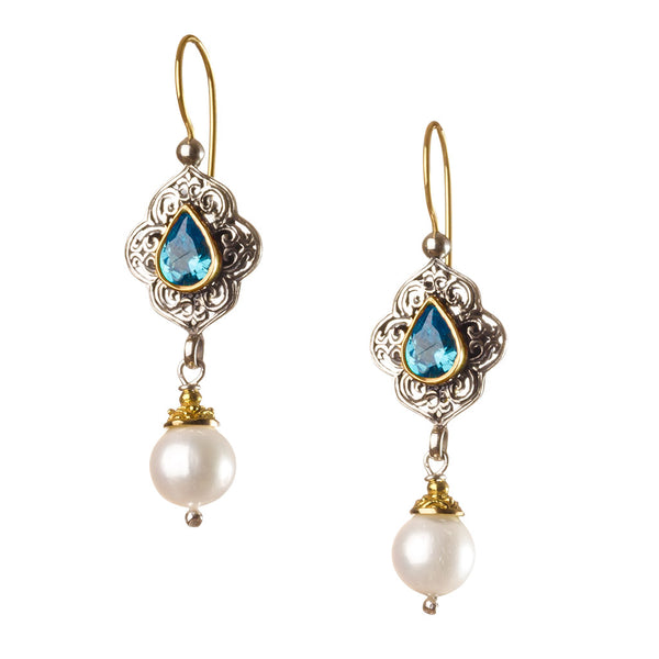 TearDrop Topaz Pearl Drop Chandelier Earrings