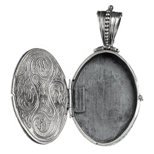 The Silver Oval Floral Garden Shadows Locket