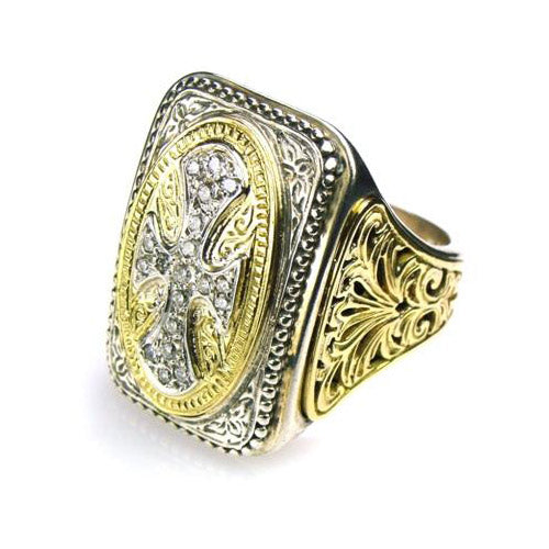 Gold Sided Diamond Maltese Cross Ring