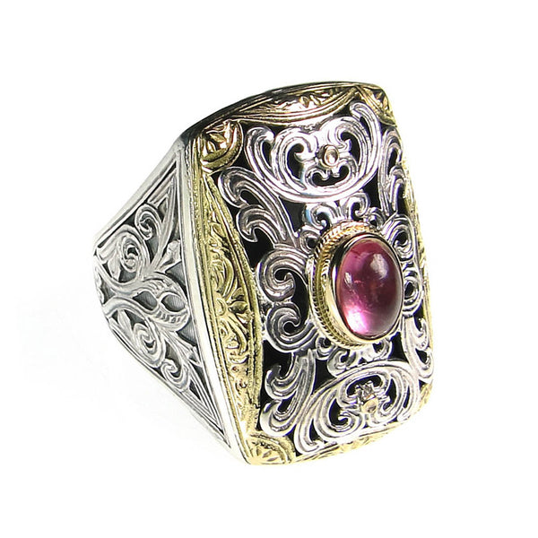 Garden Shadows Gold Border Oval Cabachon Stone Ring