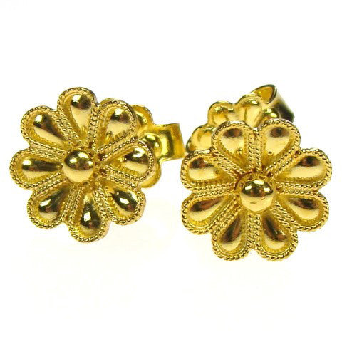 18k Gold Single Flower Post Earrings