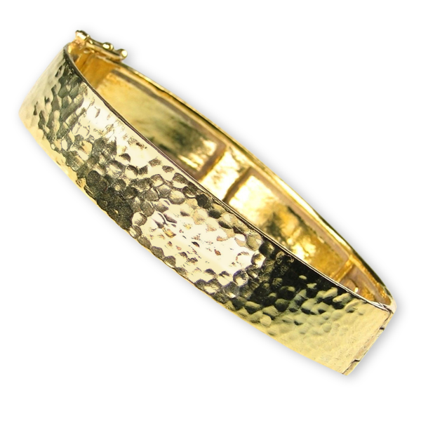 Hammered Flat Bangle Bracelet