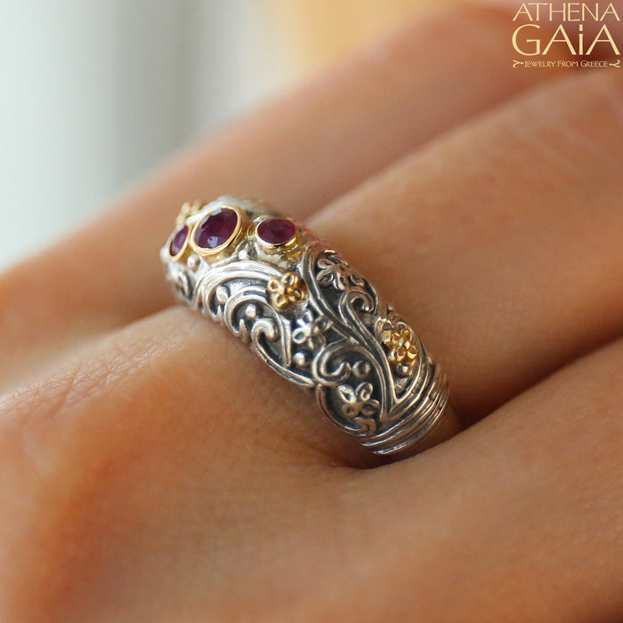 Meadow Breeze Stone Path Floral Band Ring