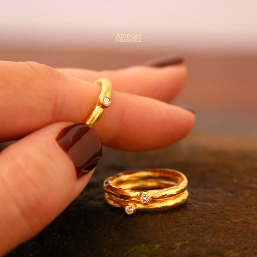 Hammered Diamond Stackable Band Ring Set