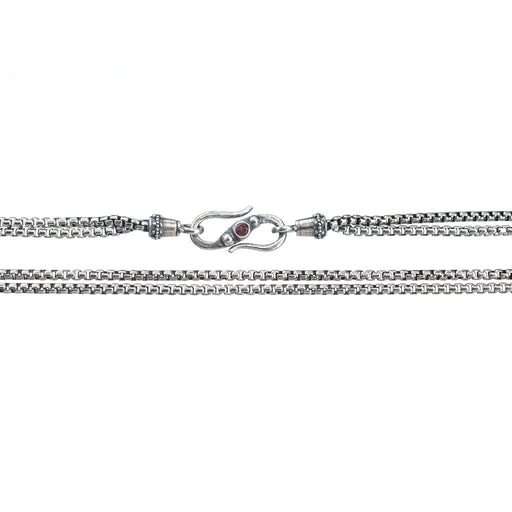 Medium Sterling Silver Box Dual Chain