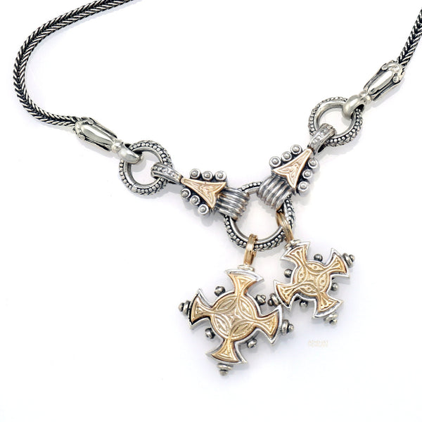 Mother and Child Crosses Necklace