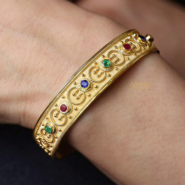 Multi-Stone Synergy Open Bangle Bracelet