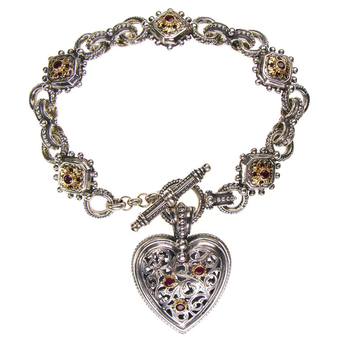 Octagon Fleur Ruby Charm Bracelet with Heart Charm