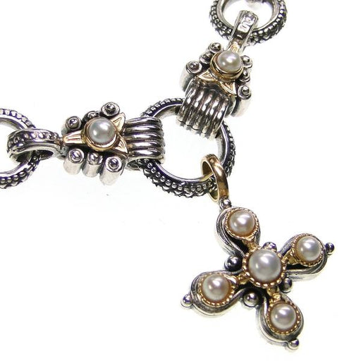 Elevated Pearl Cross with Charm Link Loop Chain