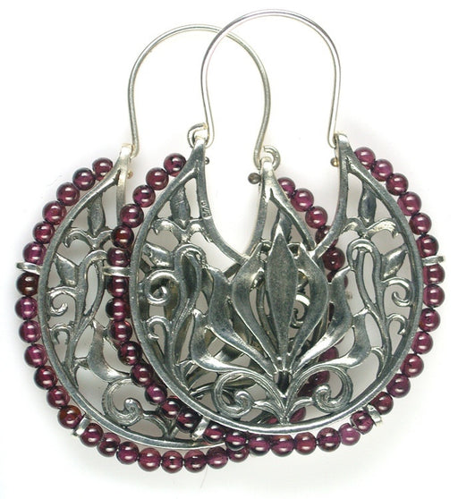 Evangelatos Anthemion Beaded Hoop Earrings
