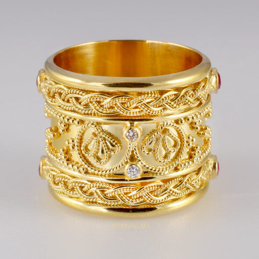 Rope Framed Diamond Iraklion Ring - Full Detail
