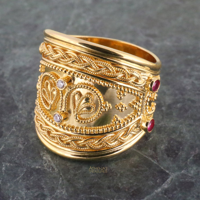 Rope Framed Diamond Iraklion Tapered Ring